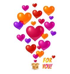 Box and hearts vector image