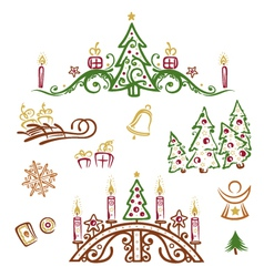 Christmas trees gifts vector image