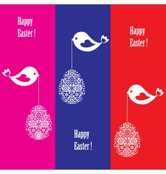 greeting card with birds for easter vector image