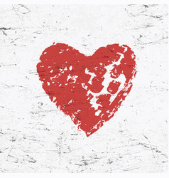 grunge red heart on monochrome distressed vector image