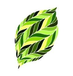 Image of a leaf in shades of green on a vector