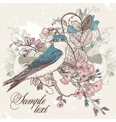 Seamless floral background with bird vector