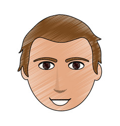 color pencil cartoon front face guy with hairstyle vector image