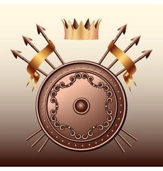 Crown bronze shield and crossed spears vector
