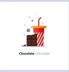 high glass of milk shake with chocolate bar vector image vector image