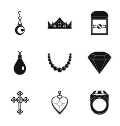 jewelry icon set simple style vector image