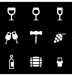 white wine icon set vector image