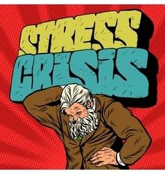 Antique atlas stress crisis strong man businessman vector