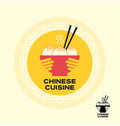 asian food chinese dumplings chopsticks bowl hands vector image