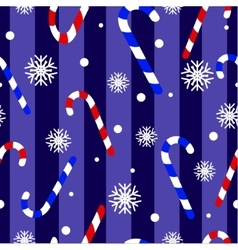 Cute Christmas seamless pattern with candy canes vector image