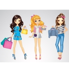 Girls With Shopping Bags And Clothes vector image vector image