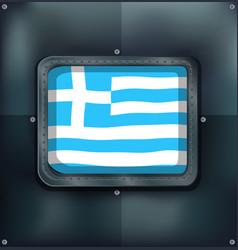 greece flag on metal wall vector image