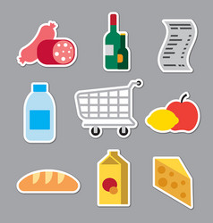 grocery supermarket stickers vector image vector image