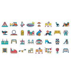 kid amusement icon set cartoon style vector image