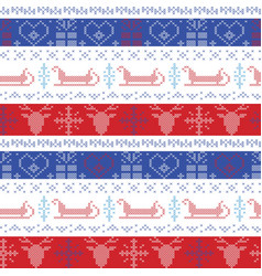 Nordic Christmas pattern with santas sleigh vector image