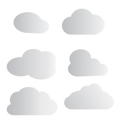 set cloud icon on white background white cloud vector image vector image