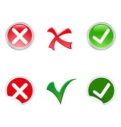 Tick and Cross symbols vector image