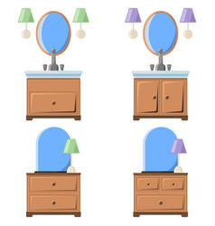 a drawing of a bedside table with vector image