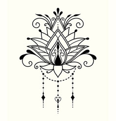 abstract lotus flower in indian style vector image