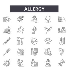 Allergy line icons signs set outline vector