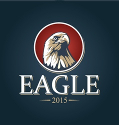 an eagle in a red circle vector image