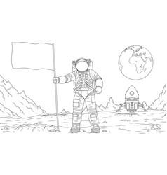 astronaut on moon sets vector image