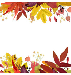 Autumn season floral watercolor card with leaves vector