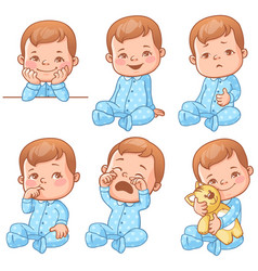 Baby boy emotions set vector