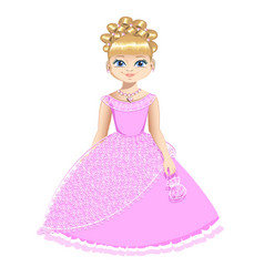 beautiful princess in a pink dress vector image