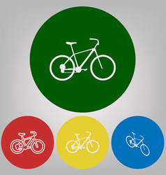 bicycle bike sign 4 white styles of icon vector image