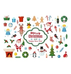 Big set of Christmas icons in flat style vector