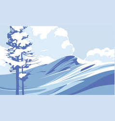 Blue mountains with snow against the blue sky vector