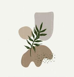 Botanical vintage print boho minimalist wall art vector