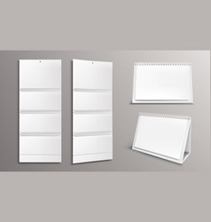 Calendar mockup with blank pages and binder set vector