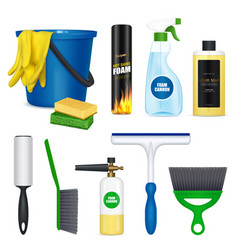 Car cleaning set realistic vector
