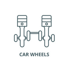 car wheels line icon car wheels outline vector image
