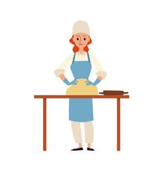 Cartoon baker kneading dough - woman in chef hat vector