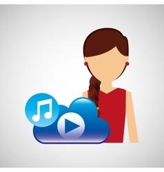 cartoon girl music cloud app vector image