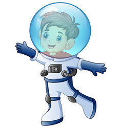cartoon little boy in astronaut costume vector image