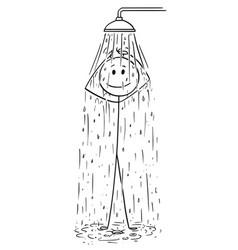 Cartoon of man taking a shower vector