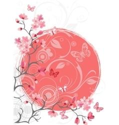 cherry blossom tree white background vector image