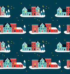 christma houses on winter seamless pattern vector image