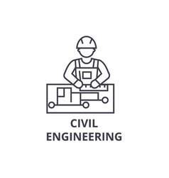 Civil engineering line icon sign vector