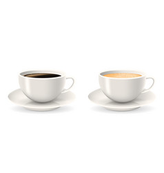 Composition of two coffee cups on saucers vector
