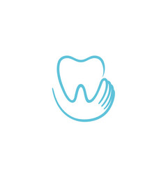 creative teeth heart inside holding logo vector image