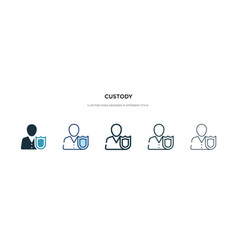 Custody icon in different style two colored and vector