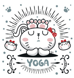 Cute cartoon cat girl relax with yoga vector