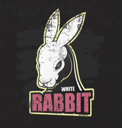 dark grunge poster with white rabbit vector image