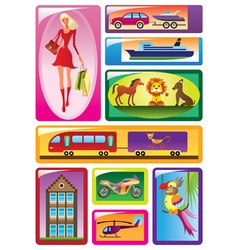 different children toys in boxes vector image