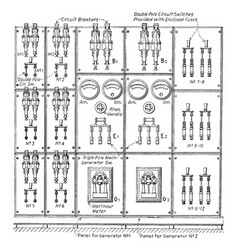 Direct current switchboard vintage vector